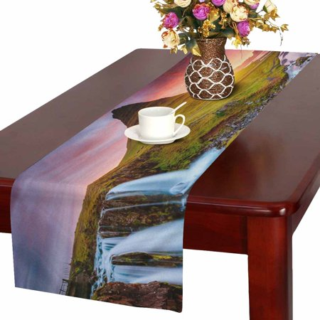 MKHERT European Waterfall Volcano Canyon Landscape Nature Theme Table Runner Home Decor for Wedding Banquet Decoration 16x72 Inch - Fall Themed Wedding