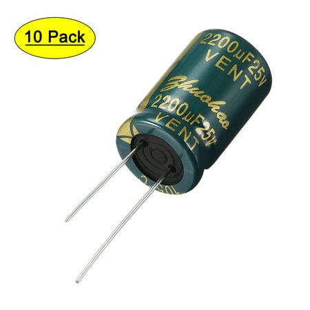 Aluminum Radial Electrolytic Capacitor 2200uF 25V Life 13 x 21 mm 10pcs