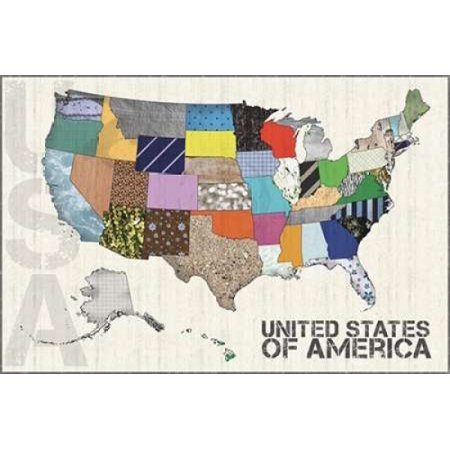 US Map Poster Print by Lauren Gibbons ()