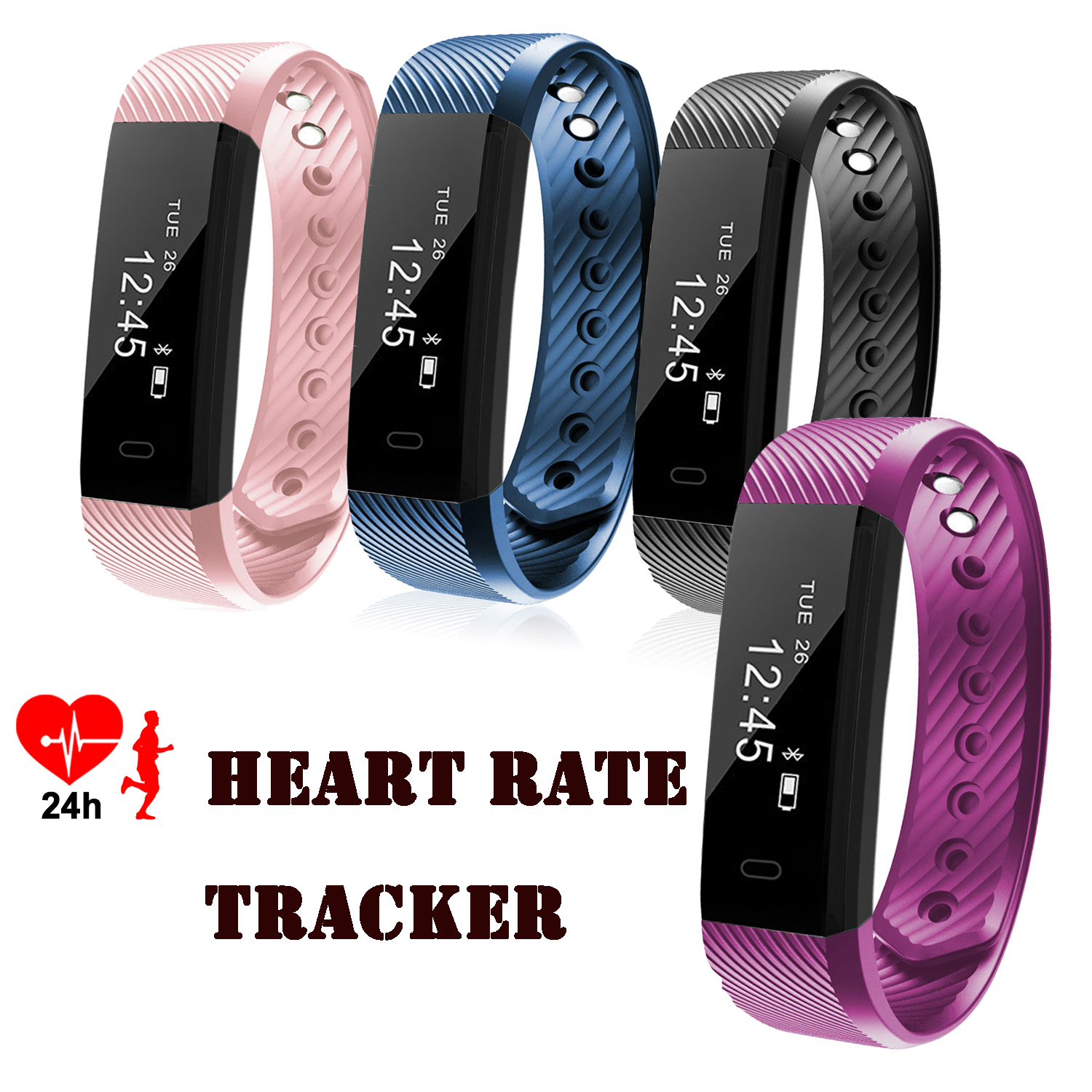 Bluetooth Fitness Tracker Heart Rate Monitor Smart Watch Wristband Bracelet for Android & IOS