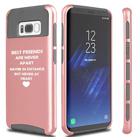 Shockproof Impact Hard Soft Case Cover for Samsung Galaxy Best Friends Long Distance Love (Rose Gold, for Samsung Galaxy
