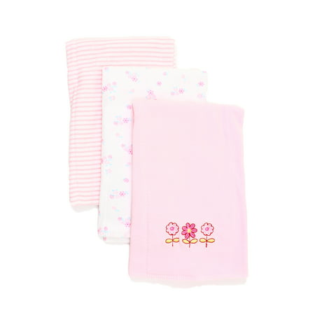 Carters Burp Cloth (Spasilk 3 Pack 100% Cotton Burp Cloths, Pink Flower)