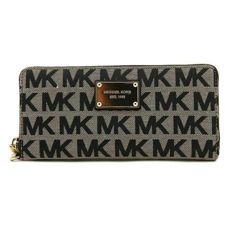 6ca8aa9cf911ed MICHAEL Michael Kors - NEW Black Jacquard Zip Around Bifold Organizer Jet  Set Wallet $138 - Walmart.com
