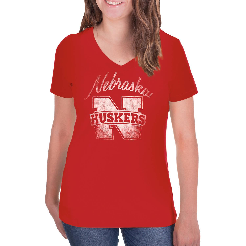 NCAA Nebraska Cornhuskers Women's V-Neck Tunic Cotton Tee Shirt