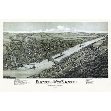 Old Map Of Elizabeth Pennsylvania 1897 Allegheny County Canvas Art     18 X 24