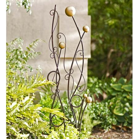 Freestanding Gold and Black Abstract Iron Garden Trellis ()