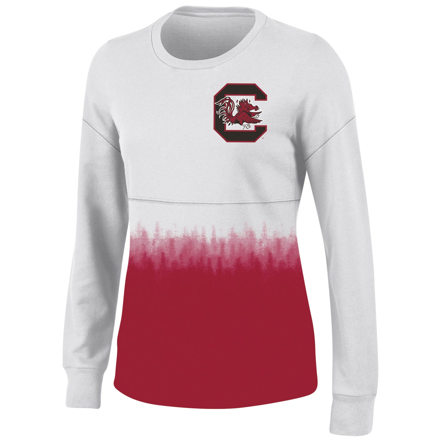 Women's White South Carolina Gamecocks Oversized Fan Long Sleeve T-Shirt