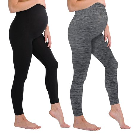 Black and Grey Maternity Leggings Soft Solid Stretch Seamless Tights One Size Fits All Active Wear Yoga Gym Clothes (Maternity - One Size Fits All, - 2 Pack - Black and Space Grey Maternity Leggings)