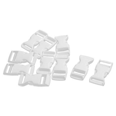 Plastic Bag Accessories Belt Strap Side Release Buckle White 2cm Fit Width 10pcs ()