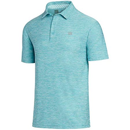 Three Sixty Six Golf Shirts for Men - Dry Fit Short-Sleeve Polo, Athletic Casual Collared T-Shirt Turquoise Mens Oxford Golf Shirt