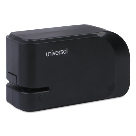 Universal Electric Half-Strip Stapler w/Staple Channel Release, 20-Sheet Capacity, Black (50 Sheet Stapler)