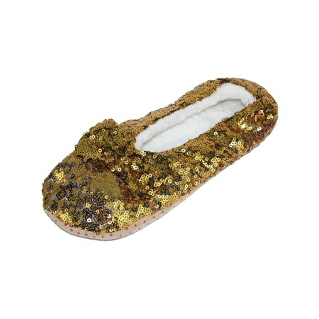 Women's Sequins Ballerina Slippers with Sherpa Fleece Lining (Girls Ballerina Slippers)