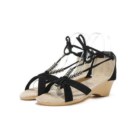 7a06696747f Lady Fashion Women Flat Heel Sandals Beaded Gladiator Girl s Small Wedges  Shoes - Walmart.com