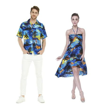Dress Hawaiian Theme (Couple Matching Hawaiian Luau Party Outfit Set Shirt Dress in Sunset Blue Men L Women)