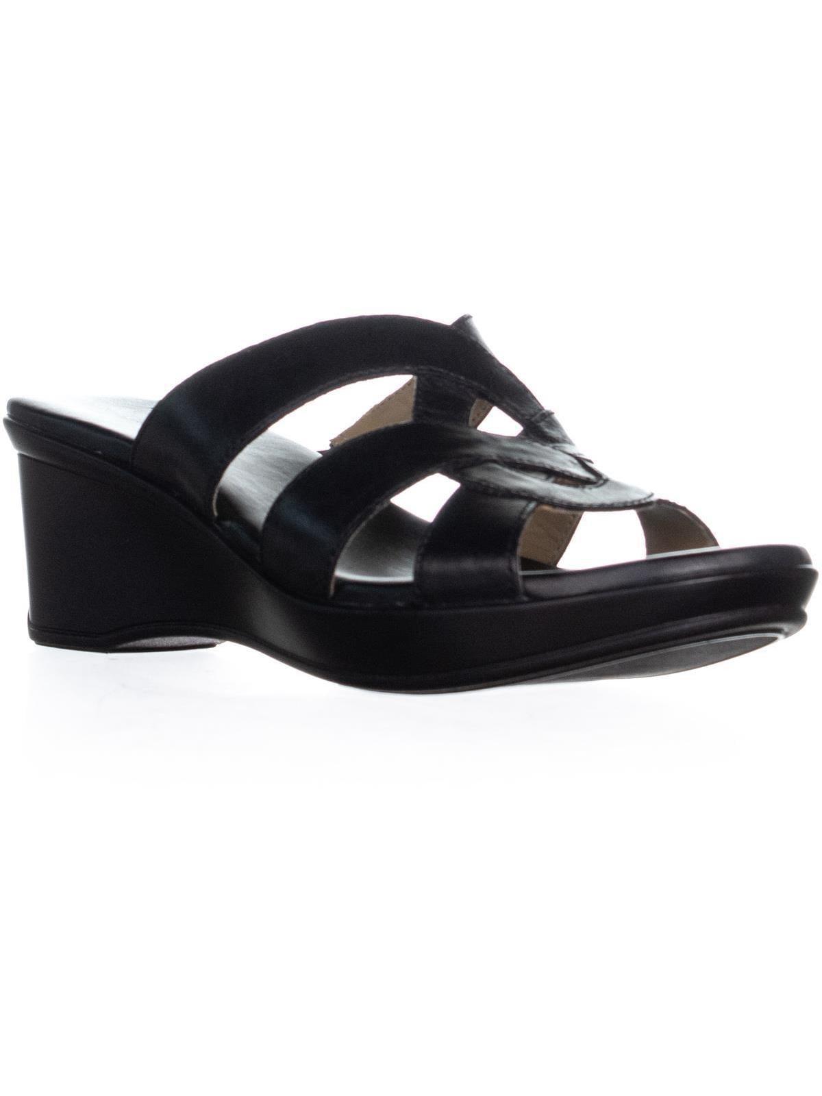 Womens Naturalizer Violet Wedge Sandals, Black Leather, 9.5 US   39.5 EU by Naturalizer