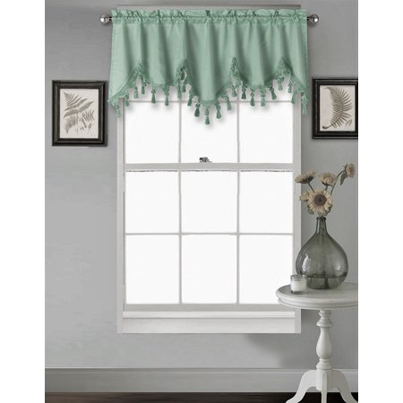 Green Wave - (WAVE) SAGE GREEN 1PC Elegant Faux Silk Rod Pocket Swag Waterfall Ascot Dressing Valance with Tassels, 55