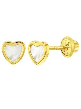 cbc9f39e3 Product Image 14k Yellow Gold Mother of Pearl Little Heart Screw Back  Earrings Babies Toddlers. In Season Jewelry
