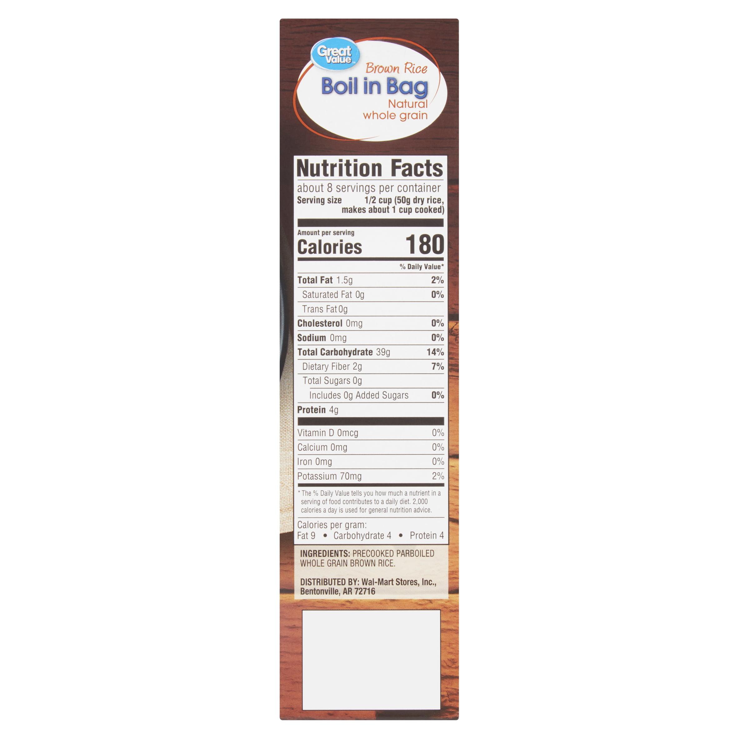 Great Value Boil in Bag Brown Rice, 4 count, 14 oz - Walmart com
