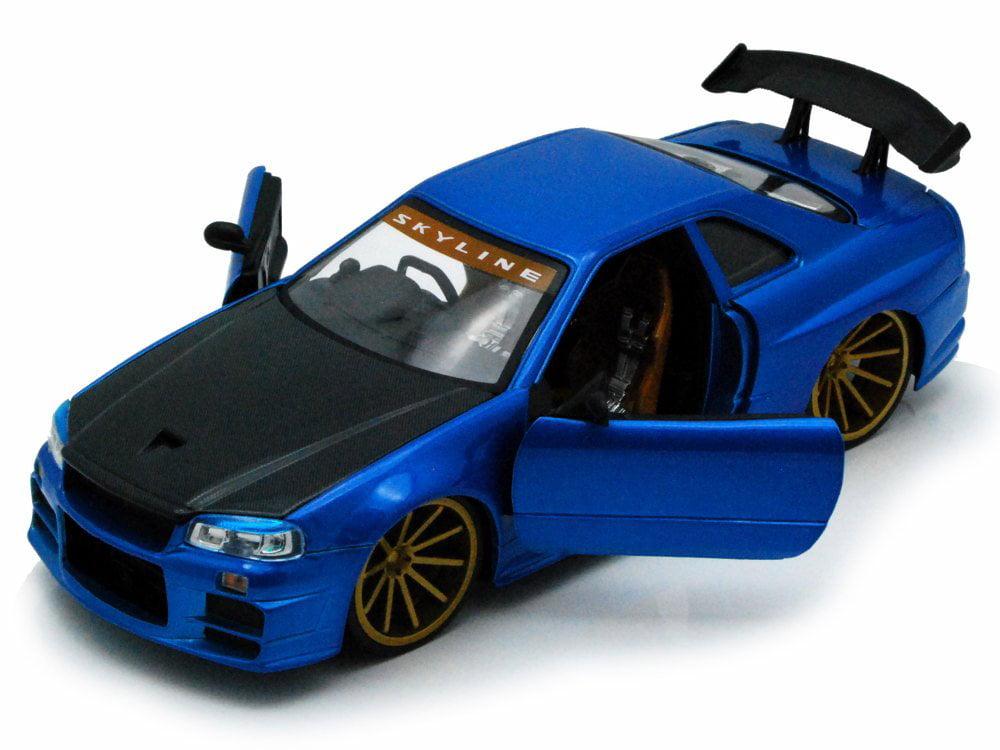 2002 Nissan Skyline GT-R, Blue w Black hood Jada Toys 96812 1 24 scale Diecast Model Toy... by Jada