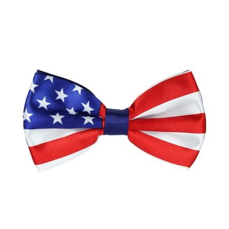Flag Tin - Premium Men's USA US American Flag Tuxedo Neck Bowtie Bow Tie