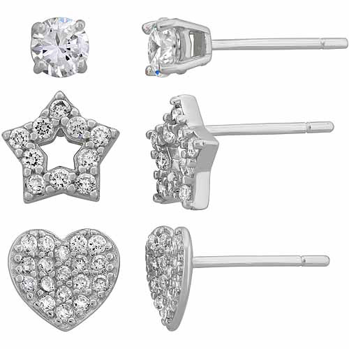Cubic Zirconia Sterling Silver Star, Heart and Stud Set of Earrings
