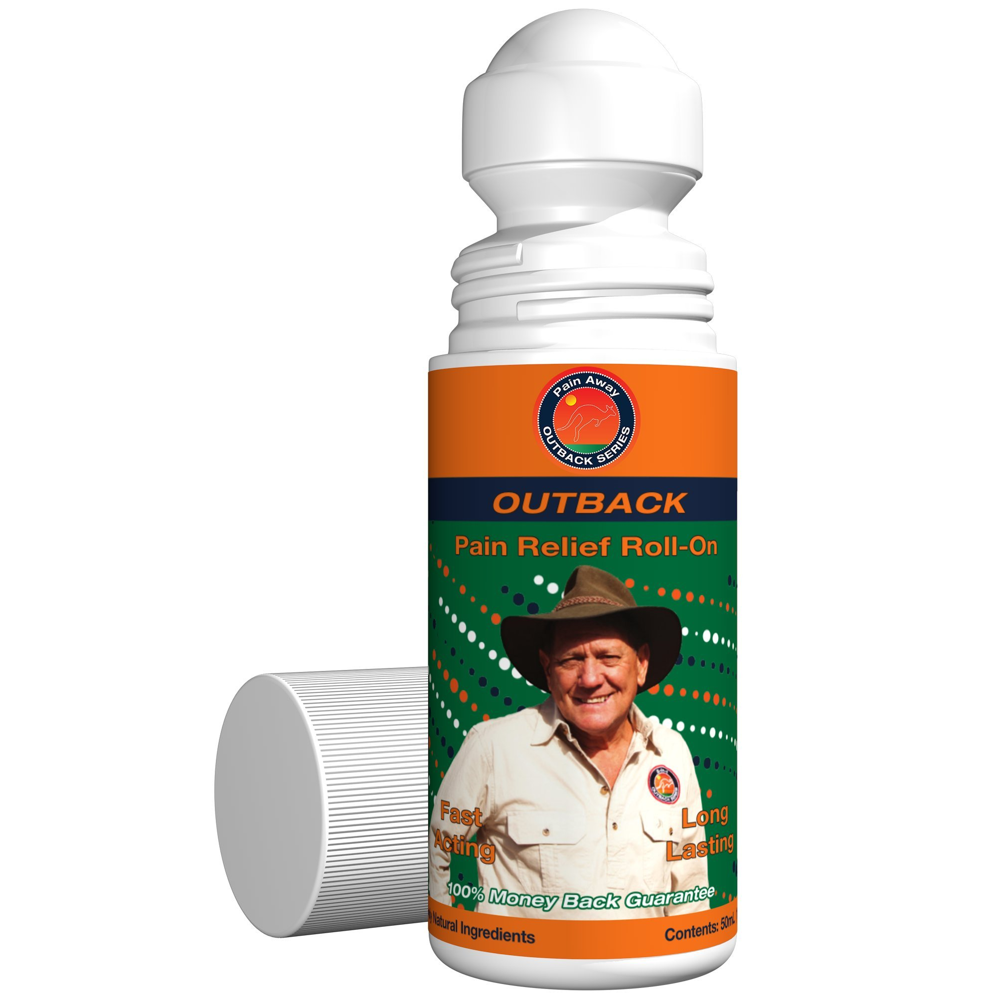Outback All-Natural Pain Relief  50mL Roll-On (1.69 fl oz)  Topical Oil Chosen By Sufferers of Neuropathy, Arthritis, Fibromyalgia, Plantar Fasciitis, Back Pain, Sciatica, Tendonitis & Tennis Elbow