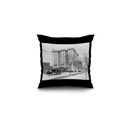 Horse Drawn Rail Car No. 148 NYC Photo (16x16 Spun Polyester Pillow, Black Border)