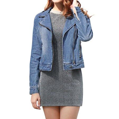 Women's Notched Lapel Asymmetric Zip Closure Moto Denim Jacket