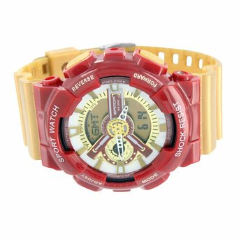 Mens Sports Athlete Watch Red Gold Shock Resistant Iron Man Limited Edition