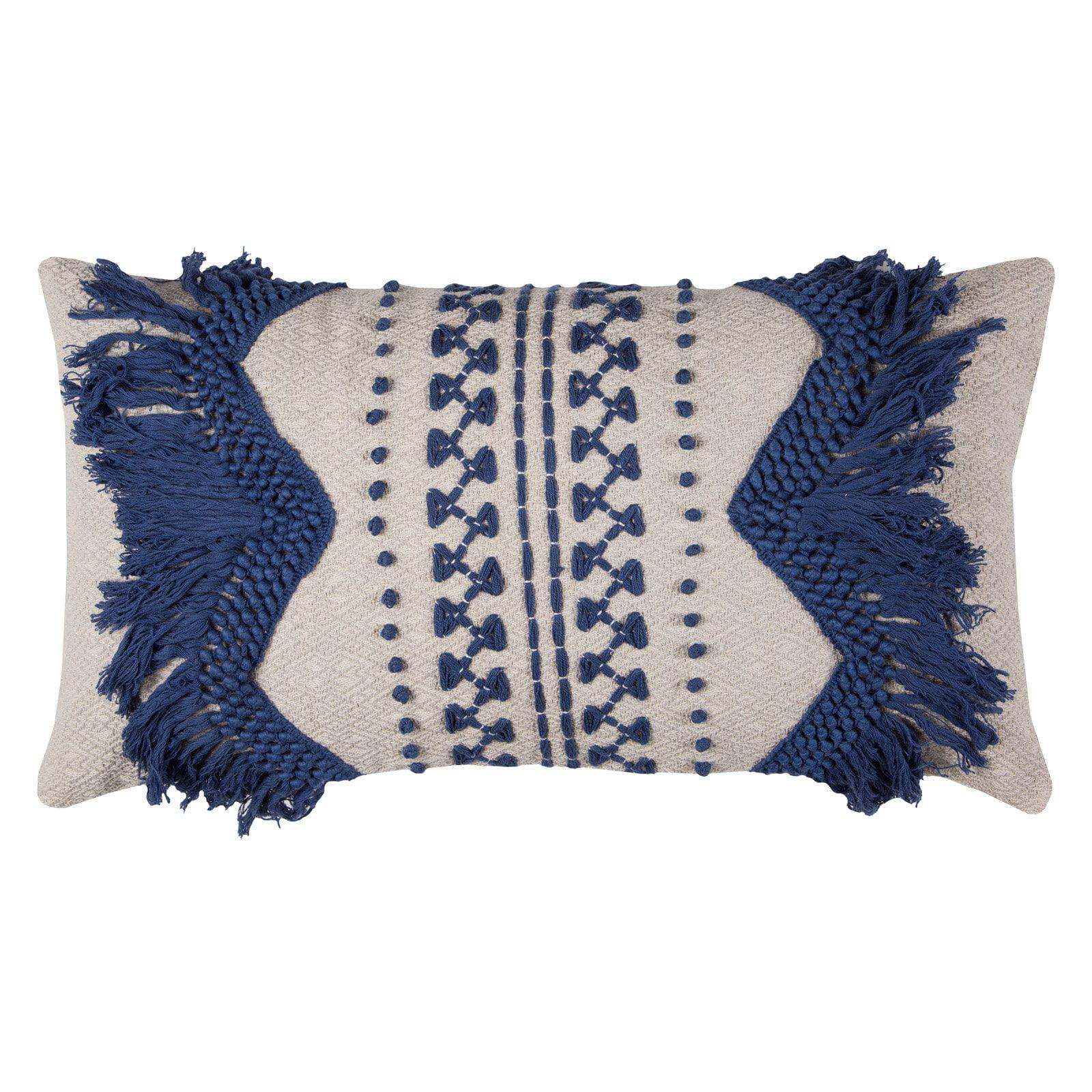 "Rizzy Home Decorative Poly Filled Throw Pillow Zig-Zag Stripe 14""X26"" Blue"