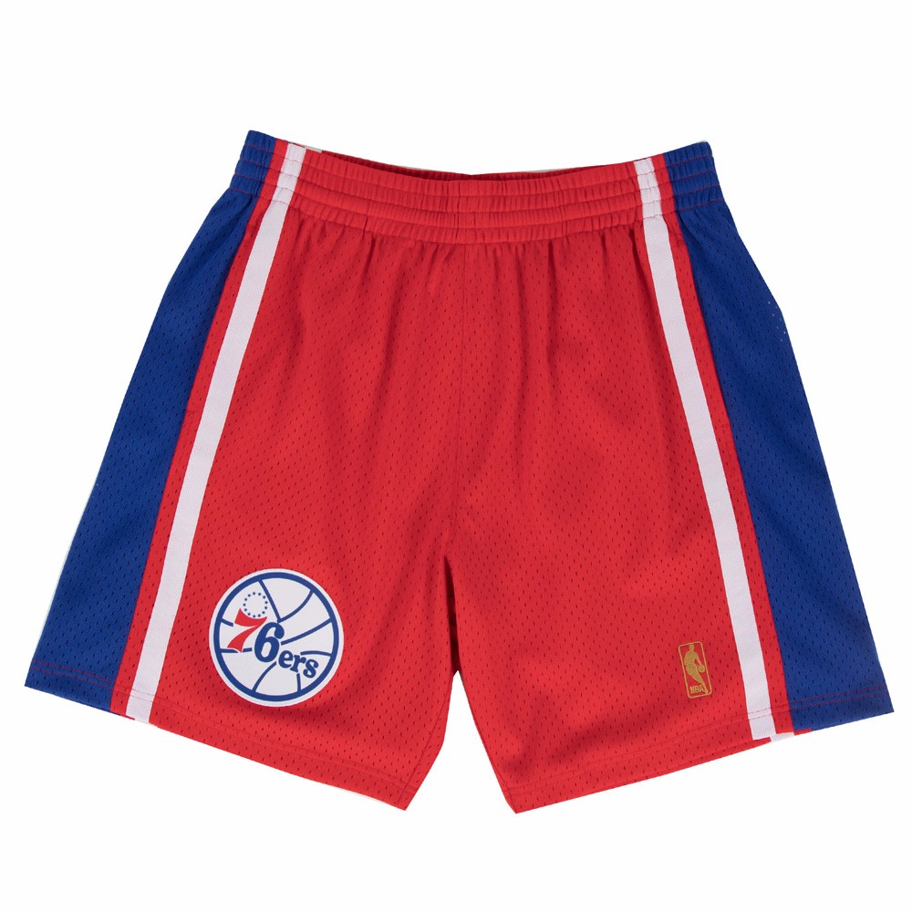 1996-97 Philadelphia 76ers Mitchell & Ness  Road Red Throwback Swingman Men's
