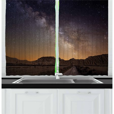 Night Curtains 2 Panels Set, Milky Way over Desert of Bardenas Spain Ethereal View Hills Arid Country, Window Drapes for Living Room Bedroom, 55W X 39L Inches, Plum Apricot Chocolate,