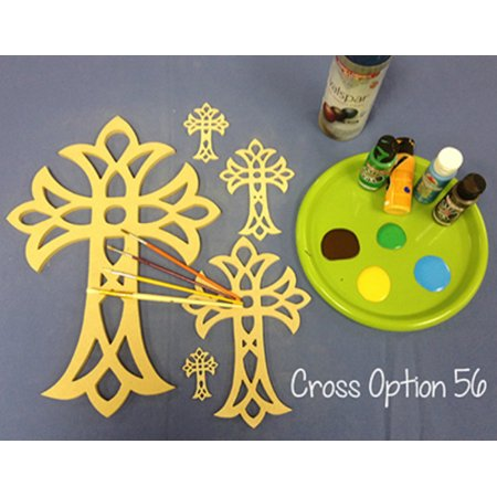 Wooden Cross Cutout, 16'' Paintable Wood Cross, Unfinished Craft (56) for $<!---->