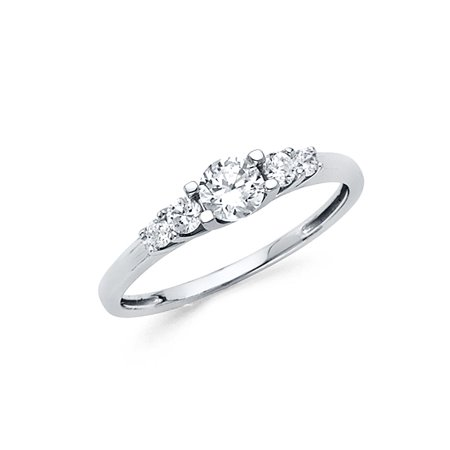 Womens 14K Solid White Gold Cubic Zirconia Fancy Ring, Size 4