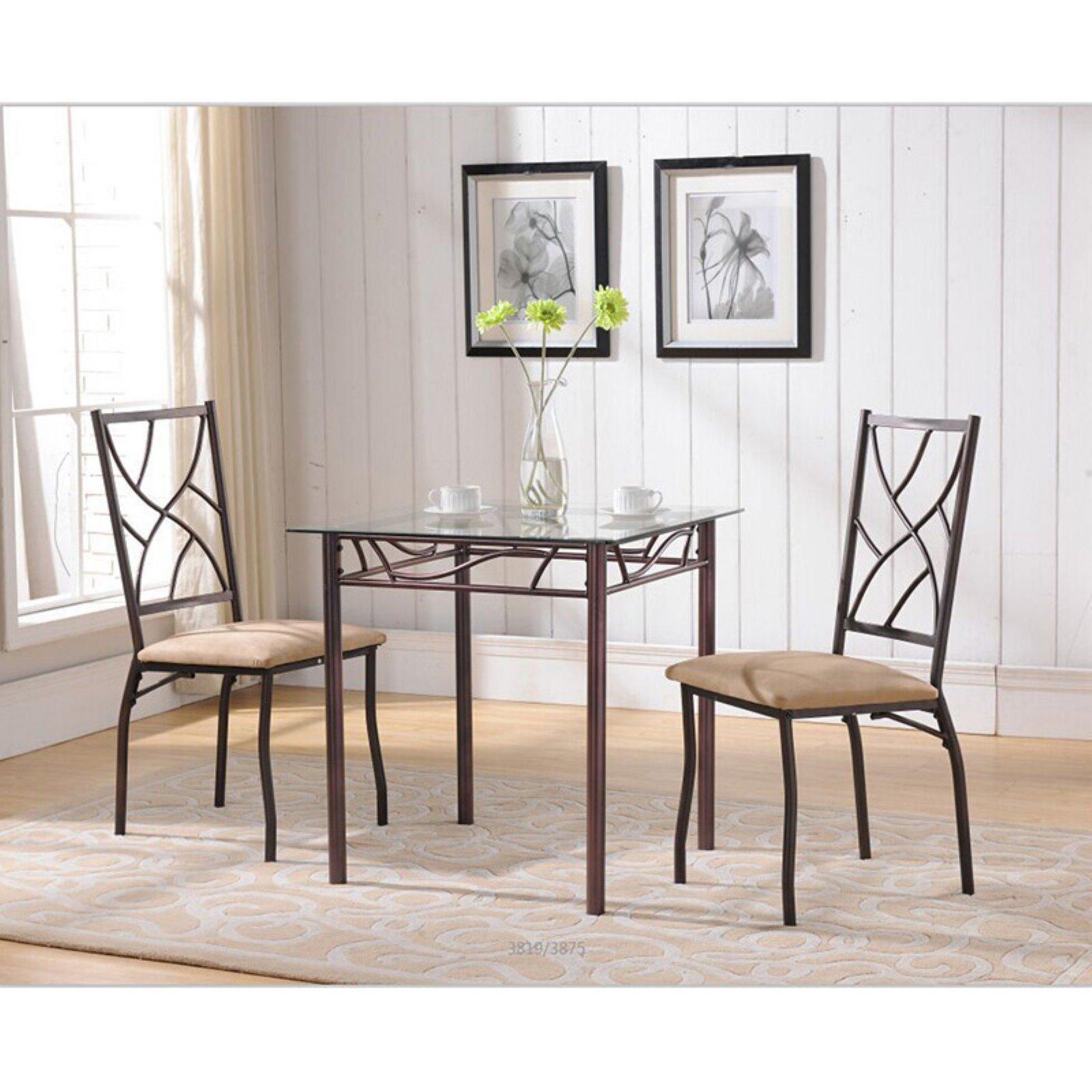 K&B Furniture Bronze Metal Glass Top Dining Table