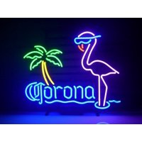 """Desung Brand New Corona Extra Pink Flamingo Neon Sign Handcrafted Real Glass Beer Bar Pub Man Cave Sports Neon Light 20""""x 16"""" WM25"""
