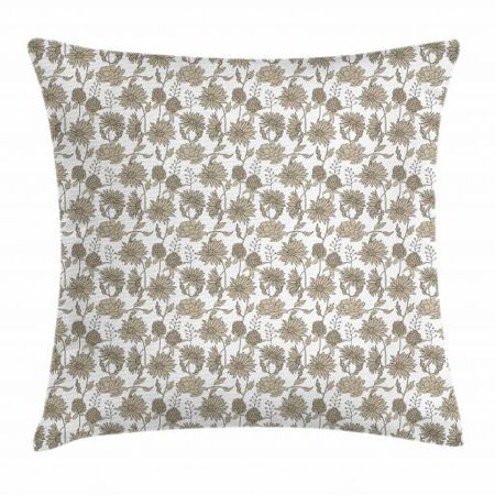 Eggshell and White Throw Pillow Cushion Cover, Blossoming Spring Flowers Pattern with Botanic Garden Art Theme, Decorative Square Accent Pillow Case, 18 X 18 Inches, Eggshell and White, by Ambesonne