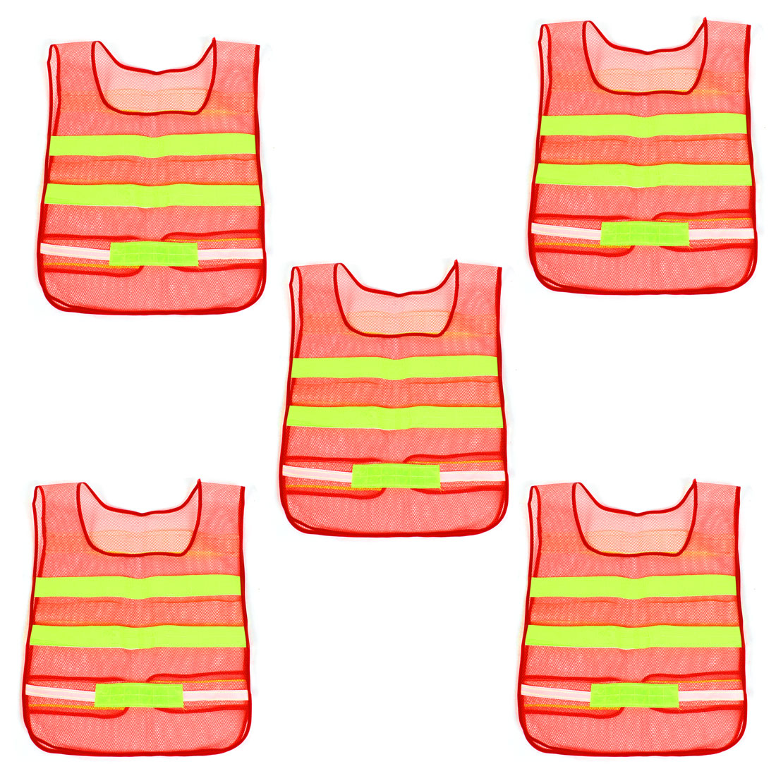 Traffic Red Yellow High Visibility Security Reflective Waistcoat Vest 5 Pcs