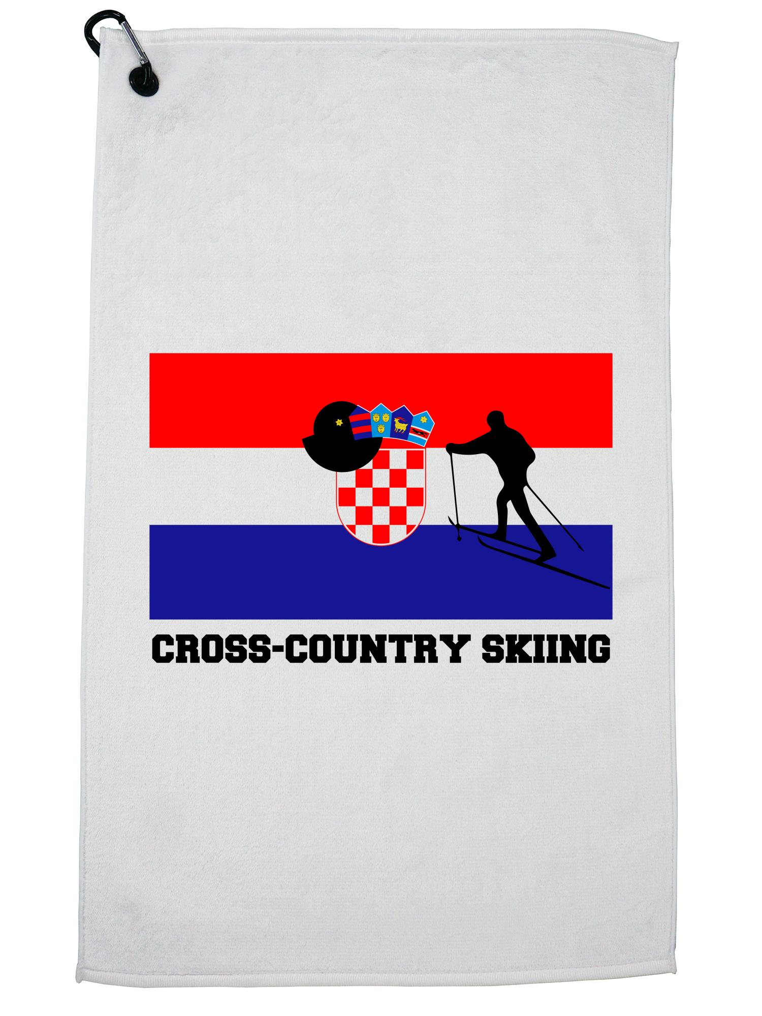 Croatia Olympic Cross-Country Skiing Flag Silhouette Golf Towel with Carabiner Clip by Hollywood Thread