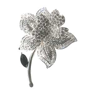 Platinum-Plated Swarovski Crystal Large White Rose Design Brooch Pin Gift Boxed by
