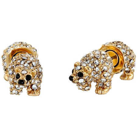 Kate Spade Cold Comforts Polar Bear Crystal Gl Stud Earrings 12k Gold