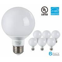 6 Pack G25 Globe LED Light Bulb, 5W (40W Equiv.), 5000K Daylight,E26 Medium Base, 3-Year Warranty