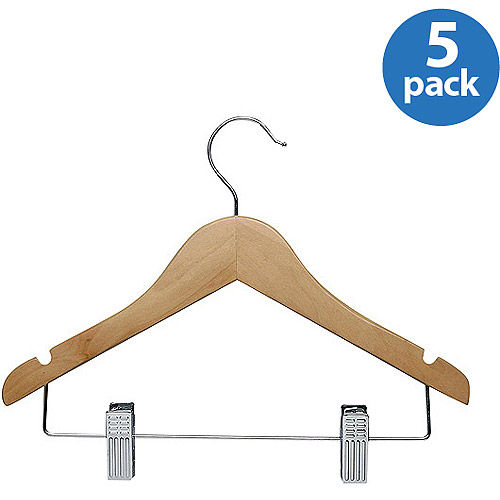 Honey-Can-Do Kid's Basic Hangers with Clips, 5-Pack