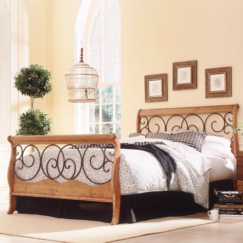 Fashion Bed Group Wood and Metal Sleigh Bed by Fashion Bed