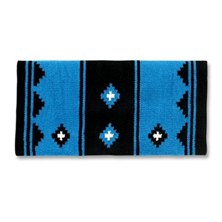 Apache Saddle Blanket, Turquoise/Black/Cream, 36 x 34-Inch, Hand-woven with New Zealand Wool By Mayatex