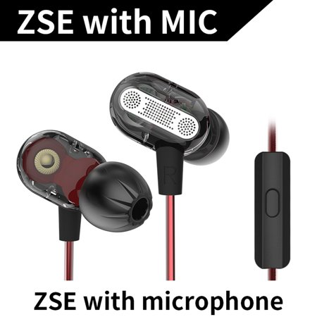 KZ ZSE 3.5mm Dynamic Dual Driver Earphone In Ear Headset Music Headphone Noise Isolating Sports Earbuds with Microphone
