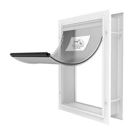 Hakuna Medium Deluxe Aluminum Pet Door for Dogs & Cats, Flexible Flap Size 12.4 in x 9.3 in, Locking Panel, Adjustable Tunnel for Doors Walls & Screens,