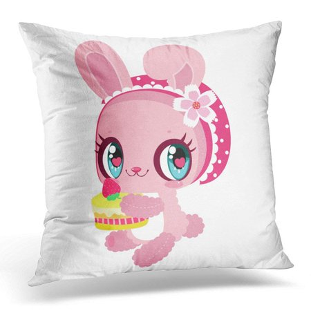 ARHOME White Animal Little Cute Pink Bunny with Strawberry Cake in Hand Children's Character Easter Baby Pillow Case Pillow Cover 20x20 inch](Cute Easter Cakes)