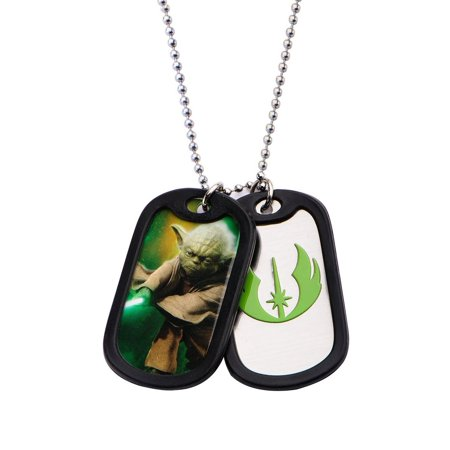 Stainless Steel Yoda with Rubber Silencer Double Dog Tag Pendant
