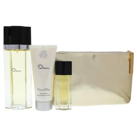 - Oscar De La Renta Perfume Gift Set for Women: 3.4oz Eau De Toilette Spray, 0.5oz Eau De Toilette Spray, 3.4oz Body Lotion, Cosmetic pouch 4 Pc Gift Set